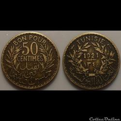 Tunisie 50 Centimes 1921 Torche