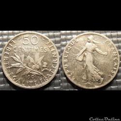 Ga 50 centimes Semeuse 1901 18mm 2.5g