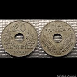Eb 20 centimes Etat Français 1944 24mm 3...