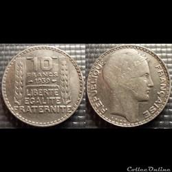 La 10 francs Turin 1939 28mm 10g