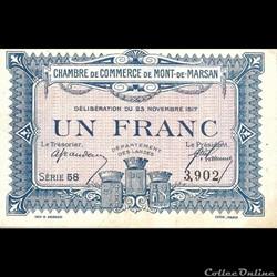 D2 1Fr Chambre de Commerce de Mont de Marsan  Délibération du 23 novembre 1917