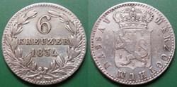 Germany Nassau Herzogthum 6 Kreuzer 1834