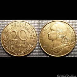 Ef 20 centimes Marianne 1994 23.5mm 4g