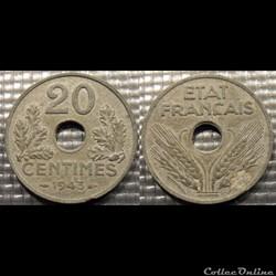 Eb 20 centimes Etat Français 1943 24mm 3.5g