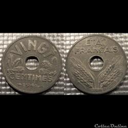 Ea Vingt centimes Etat Français 1941 24mm 3.5g