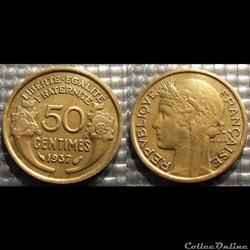 Gc 50 centimes Morlon 1937 18mm 2g