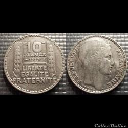La 10 francs Turin 1929 28mm 10g