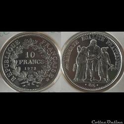 Lf 10 francs Hercule 1973 37mm 25g