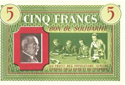 a0- Bon de solidarité CINQ FRANCS Pétain...
