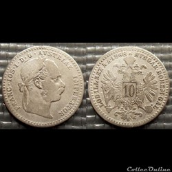 Autriche 10 Kreuser 1868