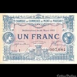G2 1Fr Chambre de Commerce de Mont de Marsan Délibération du 16 Mars 1922