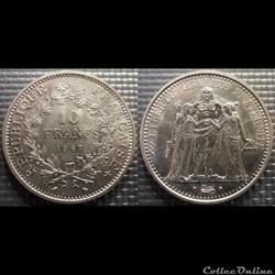 Lf 10 francs Hercule 1967 37mm 25g