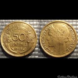 Gc 50 centimes Morlon 1940 18mm 2g