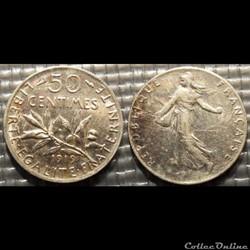 Ga 50 centimes Semeuse 1919 18mm 2.5g