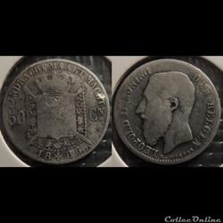 Belgique 50 Centimes 1886  Der Belgen