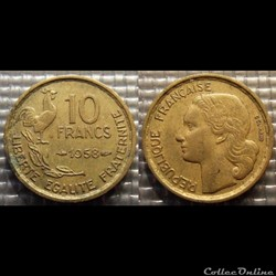 Le 10 francs Guiraud 1958 20mm 3g