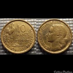 Le 10 francs Guiraud 1954 20mm 3g