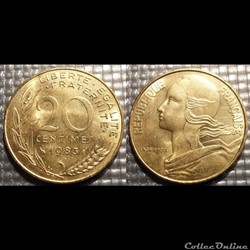 Ef 20 centimes Marianne 1983 23.5mm 4g