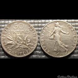 Ga 50 centimes Semeuse 1898 18mm 2.5g