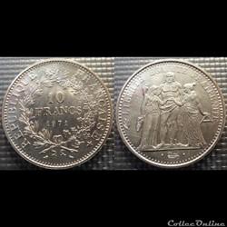Lf 10 francs Hercule 1971 37mm 25g