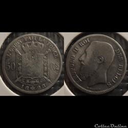 Belgique 50 Centimes 1898  Des Belges