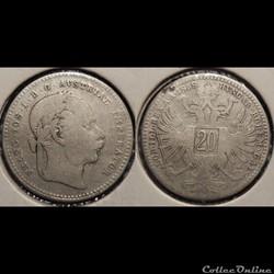 Autriche 20 Kreuser 1868
