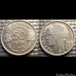 Ge 50 centimes Morlon 1947 B 18mm 0.7g