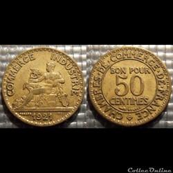 Gb 50 centimes Chambre de commerce 1921 18mm 2g