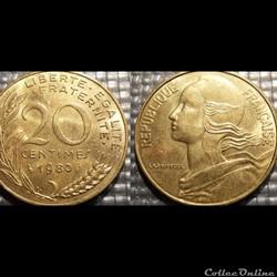 Ef 20 centimes Marianne 1980 23.5mm 4g