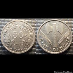 Gd 50 centimes Bazor 1942 18mm 0.7g faib...