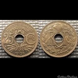 Fd 25 centimes EM Lindauer 1936 24mm 5g