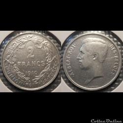 Belgique 2 Franc  1910  Des Belges