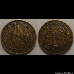 Tunisie 1 Franc 1926 Torche
