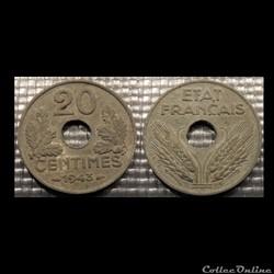 Eb 20 centimes Etat Français 1943 24mm 3...