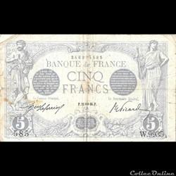 5 Francs Bleu 21 janvier 1916