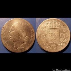 E Louis XVIII 5 Francs, buste nu Second ...