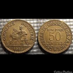 Gb 50 centimes Chambre de commerce 1925 ...