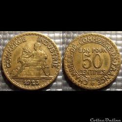 Gb 50 centimes Chambre de commerce 1923 ...