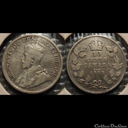 Canada 10 Cents 1918
