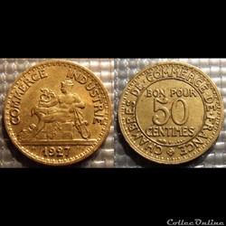 Gb 50 centimes Chambre de commerce 1927 ...