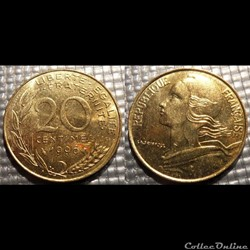 Ef 20 centimes Marianne 1996 23.5mm 4g