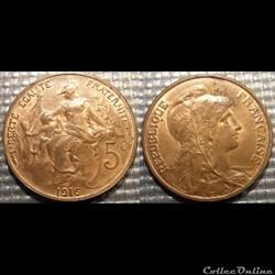 Ca 5 centimes Dupuis 1916 sans signature