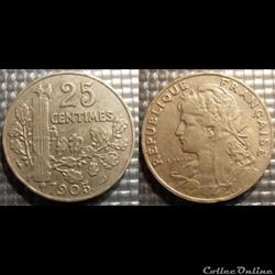 Fb 25 centimes Patey, faisceau 1905 24mm...