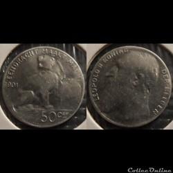 Belgique 50 Centimes 1901  Der Belgen