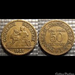 Gb 50 centimes Chambre de commerce 1922 18mm 2g