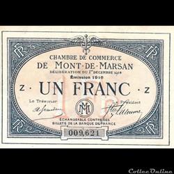 B2 1Fr Chambre de Commerce de Mont de Marsan Délibération 1 décembre 1914 Emission 1916