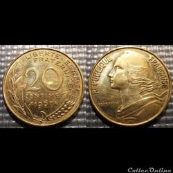 Ef 20 centimes Marianne 1967 23.5mm 4g