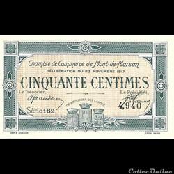 billet france assignat d1 50cent chambre de commerce de mont de marsan deliberation du 23 novembre 1917