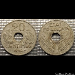 Eb 20 centimes Etat Français 1942 24mm 3...