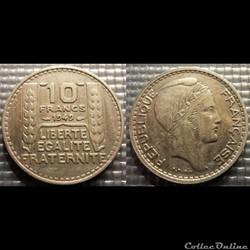 Ld 10 francs Turin petite tête 1949 26mm...